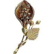 Floral gold tone wire brooch solid leaf & stem