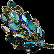Floral domed rhinestone brooch blue-green shades