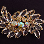 Unusual vintage clear rhinestone brooch