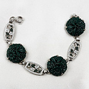 Floral link bracelet dark green glass links enamel spacers
