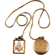 Long Watch chain with locket and FOB with initial G - W&H Co