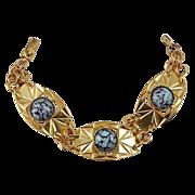 Gorgeous Egyptian Revival bracelet blue glass cabochons