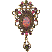 Signed Coventry large regal brooch with opalescent center stone