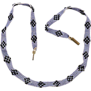 Delicate early cloth beaded necklace Lavender & black beads