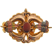 Signed Simmons watch holder/scatter pin with tri colored gold tone leaves