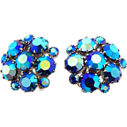 Signed Weiss dazzling AB blue rhinestone clip on earrings