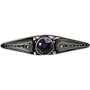 Sterling Silver bar pin with genuine Amethyst center stone