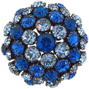 Signed Warner vintage domed rhinestone Brooch in shades of blue