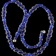 Long deep Cobalt blue all glass bead necklace