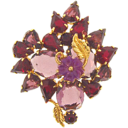 Abstract vintage rhinestone brooch in shades of purple and red