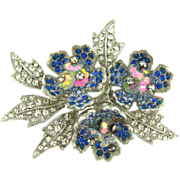 Vintage rhinestone floral Brooch with a trio of blue rhinestone flowers