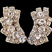 Brilliant crystal vintage rhinestone clip on earrings