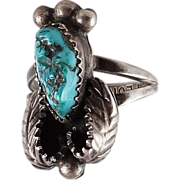 Ring Turquoise stone set in a Sterling Silver (925) signed
