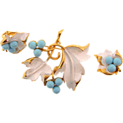 """SOLD Signed Sarah Coventry 1967 """"Placid Beauty"""" brooch and clip on earrings"""
