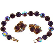 Gorgeous deep purple rhinestone bracelet and matching clip on earrings