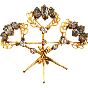 Unusual marked gold filled Brooch with smoky and crystal rhinestones