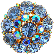 Beautiful vintage blue rhinestone 3 row layered Brooch