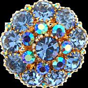 Beautiful vintage blue rhinestone 3 row layered Brooch