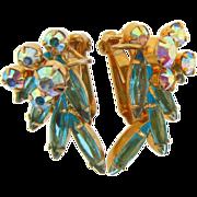 D&E Juliana gold tone AB and turquoise rhinestone clip on earrings