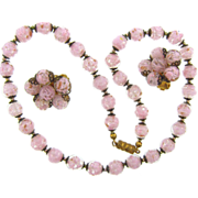 Italian pink adventurine cased glass bead choker Necklace with matching clip on earrings.
