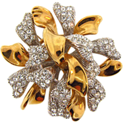 Signed Ciner massive two tone Brooch with crystal rhinestones.