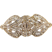 Art Deco 2 part white metal crystal rhinestone Belt Buckle marked T&G