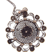 Silver wire floral pendant Necklace