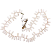 Signed Miriam Haskell on cartouche opaque milk glass bead chokeer length Necklace