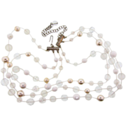 Signed Graziano triple strand Necklace with glass beads and imitation pearls