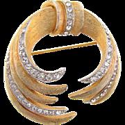 Vintage brushed gold tone Brooch with crystal rhinestones