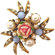 Unique small Brooch with center composition Rose,imitation pearls and blue opaque glass beads