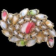 Unusual 1960's rhinestone Brooch with multicolored Givre stones
