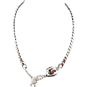 Signed Tar crystal Rhinestone bright Silver tone necklace