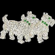 Scottie Dogs brooch trio pave set crystal rhinestones & green Collar & Eyes