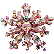 Designer signed CATHE brooch star shaped Art Glass & AB pink