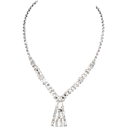 Crystal rhinestone necklace abstract design in silver tone