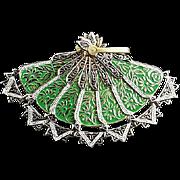 Novelty Damascene Fan (Opens & closes) Brooch or necklace marked Spain