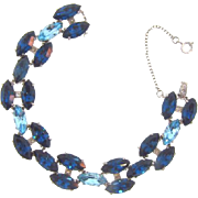 Vintage 1950's-1960's rhinestone link Bracelet in shades of blue