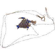 Sterling silver reticulated cloisonne small Fish Pendant on 18 in. fine link sterling silver c