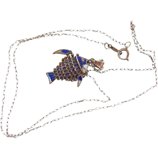 Sterling silver reticulated cloisonne small Fish Pendant on 18 in. fine link sterling silver chain