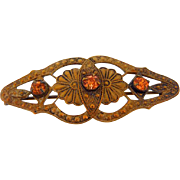 Small Edwardian embossed gold tone Brooch