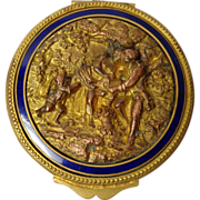 SOLD Antique French Gilt Bronze Bas Relief Patch Box, Cobalt Enamel - Red Tag Sale Item