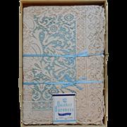 SOLD 1954 Quaker Baroness Lace Tablecloth, Unused in Original Box
