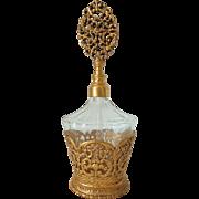 Vintage Stylebuilt Gilt Cased Perfume Bottle w Gilt Top Dauber