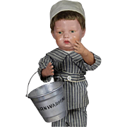 Early Vintage 1928 Barnwarming Doll Sized Aluminum Sand Pail!