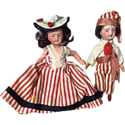 French Bisque Unis France Dollhouse Size Doll Pair from Nice!