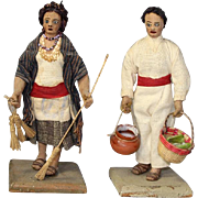 Fantastic! Early Vintage Mexican Doll Couple Diego Dolls! Fine Workmanship!