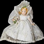 Vintage Compo Madame Alexander TINY BETTY Bride Doll w Orig Box!