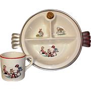 Vintage Baby Divided Dish & Matching Mug w DOLL Motif!