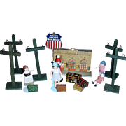 Darling Vintage Telephone Poles for Doll Train Display!